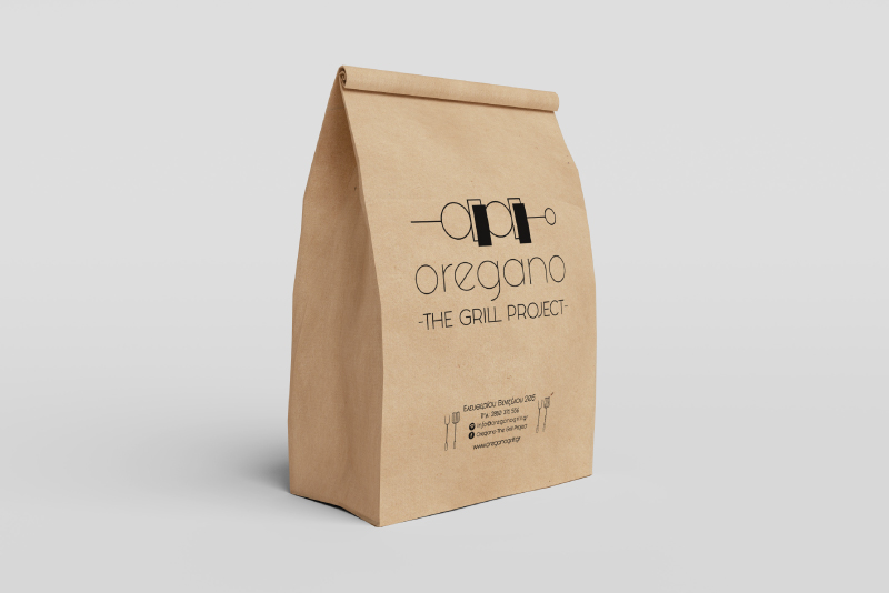 Oregano The Grill Project paper bag packaging